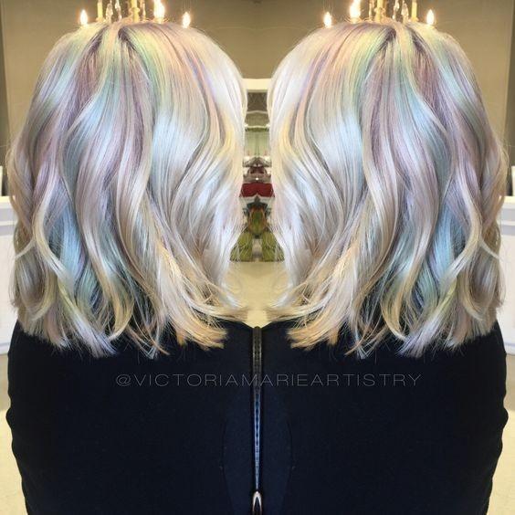 Colorful layered bob hair