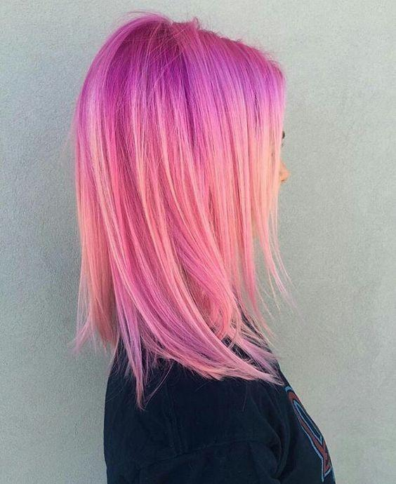 Medium hairstyle with purple and pink shadows blend