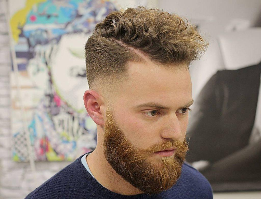 Curly Side Part Men Hairstyles
