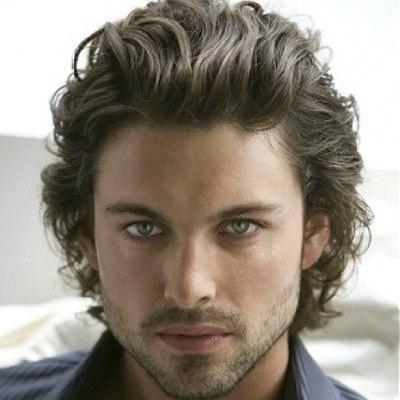 Curly Slicked Back Men Hairstyles