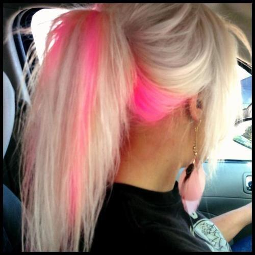 Cute pink strip of color girl hairstyles
