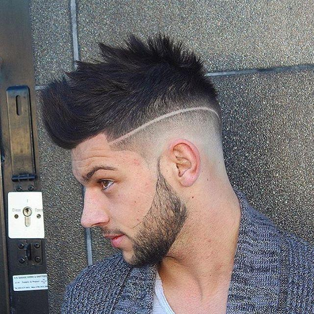High Fade with Fohawk and Design Men Hairstyles