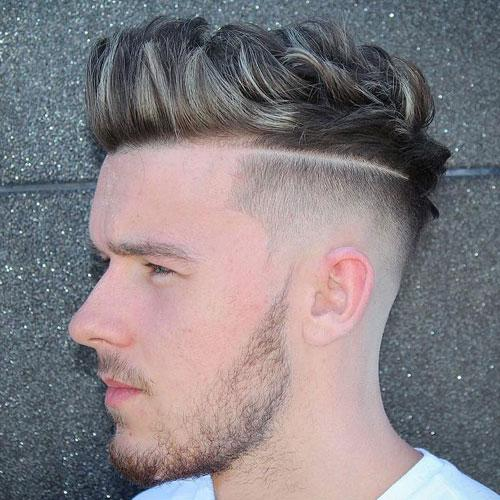 High Fade with Hard Part and Quiff Men Hairstyles