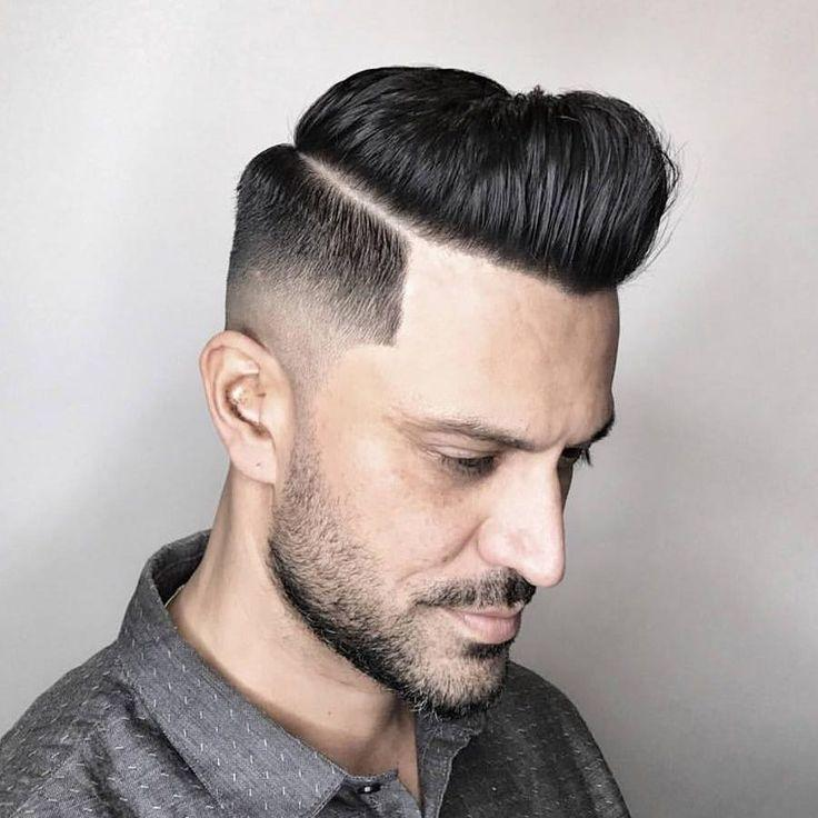 Mid Fade with Side Part and Long Fringe Men Hairstyles