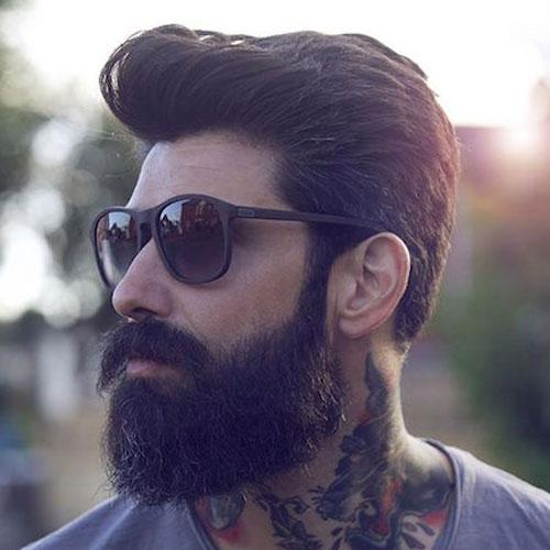 Pompadour and Beard Men Hairstyles