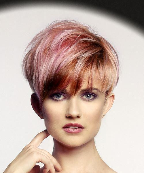Short Straight Alternative Pixie Hairstyles with Layered Bangs