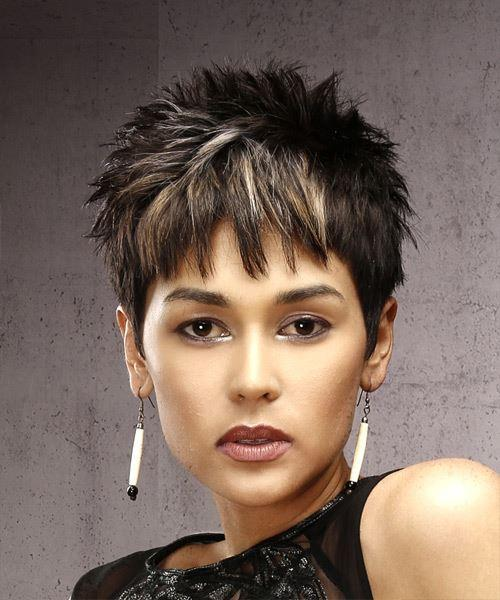 Short Straight Casual Pixie Hairstyles with Razor Cut Bangs